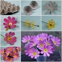 Flores con cartones de huevos reciclados                              …