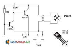 Схема простого преобразователя на одном транзисторе