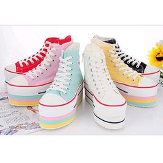 Women Canvas Platform Sneakers Black White Pink Red Skyblue Yellow US 5 5 8 Sock Shoes, Cute Shoes, Shoe Boots, Platform Converse, Platform Sneakers, Girls Sneakers, High Top Sneakers, Kawaii Shoes, Kawaii Clothes
