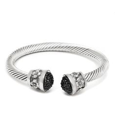 Love this Black Pavé Austrian Crystal & Silver Floral Cuff on #zulily! #zulilyfinds
