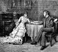 "treselegant:  ""I pressed my dear one's hand."" Cassell's Magazine, 1880.  Kittyinva: Isn't this the sweetest thing?!"