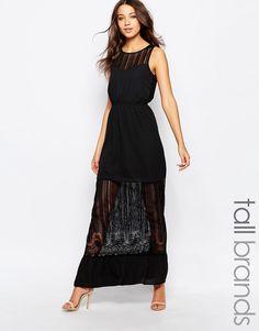 5fa42a3fe7e Image 1 of Vero Moda Tall Sheer Insert Maxi Dress Sheer Dress
