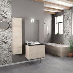 meuble salle de bain économique, mobilier salle de bain portes, salle de bain carreaux de ciment, salle de bain scandinave, meuble salle de bain professionnel, made in france, meuble salle de bain chêne vert