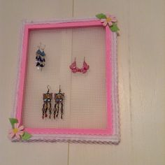 My earring holder made from a picture frame