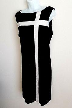 AMERICAN LIVING BLACK WHITE STRIPE SLEEVELESS SHORT SHIFT DRESS SIZE 16 #AmericanLiving #Shift