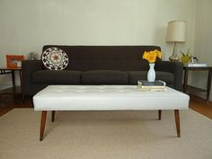 DIY - Mid-Century Modern Bench Step-by-Step Tutorial. Total cost of project is under 140 dollars. I really want to do this for the living room. Ikea Regal, Ikea Kallax Regal, Upholstered Coffee Tables, Upholstered Bench, Modern Bench, Mid-century Modern, Modern Ottoman, Danish Modern, Modern Living