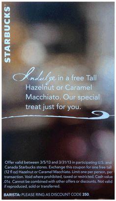 265 best stuff brads deals loves images on pinterest random stuff starbucks printable coupon free tall hazelnut or caramel macchiato fandeluxe Images