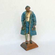 Santon Napolitain en bois sculpté, XVIIIe siècle • Weber antiquités, objets de vitrine, éventails, cannes, mannequins