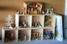Using shelves to create a large small world play unit. Really lovely idea! Play Spaces, Learning Spaces, Kid Spaces, Reggio Emilia, Block Play, Small World Play, Natural Toys, Natural Play, Waldorf Toys
