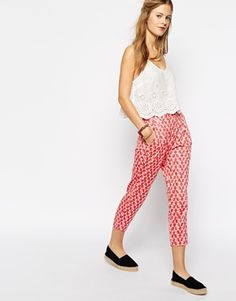 Enlarge People Tree With Orla Kiely Organic Cotton Tailored Pant in Wallflower Print