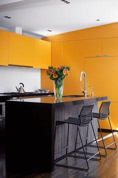 Sleek Orange Kitchen