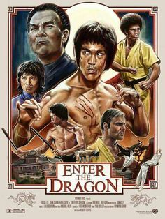 """Bruce Lee, who died shortly before the release of his film """"Enter the Dragon"""" was the face of martial arts in pop culture and helped it to gain popularity in the United States. Bruce Lee Movies, Bruce Lee Art, Bruce Lee Poster, Cinema Tv, Cinema Posters, Cinema Movies, Comedy Movies, Art Posters, Classic Movie Posters"""