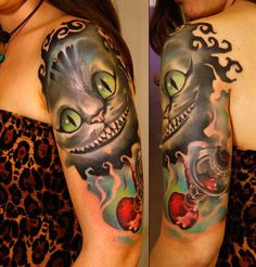 cheshire cat alice in wonderland tattoo Cat Eye Tattoos, Body Art Tattoos, Hand Tattoos, Sleeve Tattoos, Tatoos, Alice And Wonderland Tattoos, Alice In Wonderland Characters, Disney Tattoos, Cheshire Cat Tattoo