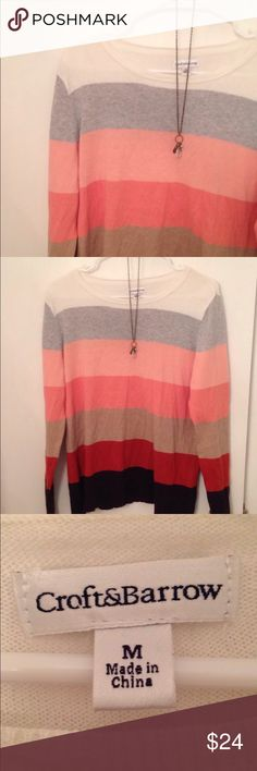Croft & Barrow Striped Sweater This is a great lightweight Knit sweater by Croft and Barrow. Beautiful peach and brown tones. 100% cotton. The stripes make it super flattering. Size M. croft & barrow Sweaters Crew & Scoop Necks