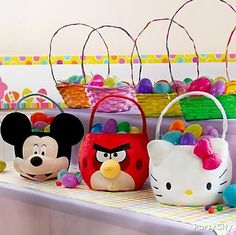 Easter egg baskets with famous characters can double as  fun party favors for little bunnies to enjoy!