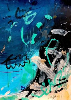 Under the Sea I. Light up your decor with this large abstract #expressionist painting on paper. This modern #art #painting was made on white 200 gms - 130 lbs soft-white paper. Size is 77cm x 56cm (30,3 x 22). Signed on the front . #abstract