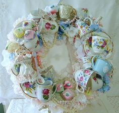 teacups wreath I wouldn't do this with teacups like this but still think it's pretty!:-)