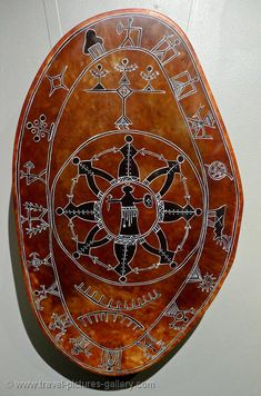 Sami art, reindeer skin drum, traditional painting