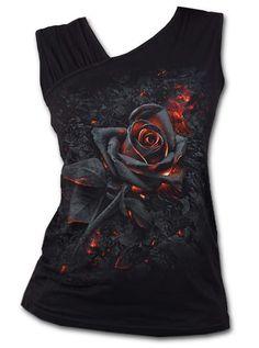 Spiral Direct Ladies Black Goth Burnt Rose Fire Slant Vest/Top All Sizes V Neck Shirts, Estilo Rock, Ripped Denim, Printed Tank Tops, Black Tops, Streetwear, Fashion Outfits, Emo Outfits, Punk Fashion