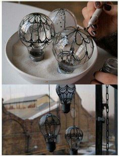 Recycle old light bulbs by painting them to look like hot air balloons, as you're painting them you can place them into sand or sugar to make them easier to paint. From Doreen beads on Facebook.