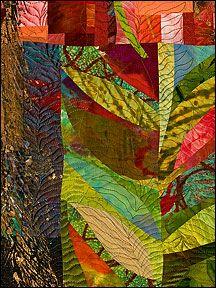 Sue Benner: WALKING THROUGH TIME IX (VINE) - 2010 - dye & paint on silk & cotton, found fabrics, fused, mono-printed, machine quilted.    ..z