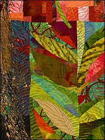 Sue Benner: WALKING THROUGH TIME IX (VINE) - 2010 - dye & paint on silk & cotton, found fabrics, fused, mono-printed, machine quilted.    ..z