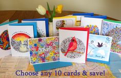 Choose Any 10 Cards - Greeting Cards - Blank Notes - Blank Cards - Any Occasion - All Occasion - Cheerful Colors - Art Cards - Note Cards by CreateThriveGrow on Etsy