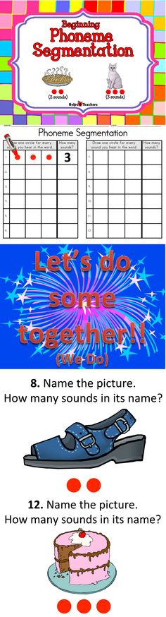 $ Great powerpoint lesson for introducing phoneme segmentation of two and three phoneme words. It uses the gradual release method: I DO (Teacher models), WE DO (Teacher and students do together), YOU DO TOGETHER (Students do it with a partner) and YOU DO (Students do it independently). This is the first in a series.....coming soon....three, four and five phoneme powerpoints. Visit us at: http://www.teacherspayteachers.com/Store/Helps4teachers