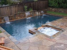 Backyard Designs with Pool New Home Pool County Swimming Pool Builders Home Depo… Small Backyard Design, Small Backyard Pools, Backyard Pool Landscaping, Backyard Pool Designs, Outdoor Pool, Backyard Ideas, Landscaping Ideas, Back Yard Pool Ideas, Small Backyards