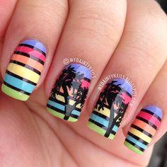 Palm Trees by mydaintynails #nail #nails #nailart