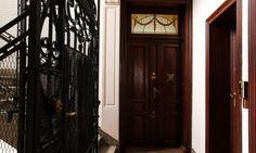 The Socialite Family   Bruxelles  Entrée de l'appartement d'Aurélie Coene   #deco #stairs #entry #door #industrial #metal #wood #vintage #family #apartment #TheSocialiteFamily