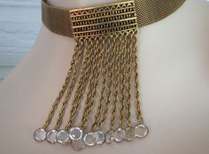 Choker Goldette Waterfall Necklace Mesh Crystal Drops