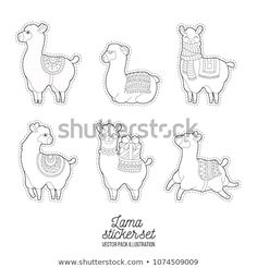 Cute llama and alpaca for adult coloring pages. Llama Character Vector Graphic Doodle Patches Royalty Free Funny Ll - Adult Coloring Pages, Coloring For Kids, Colouring Pages, Coloring Books, Alpacas, Funny Llama, Cute Llama, Alpaca Drawing, Unicorns And Mermaids