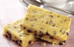 Chocolate Chip Shortbread Bars - Try something different for dessert tonight—buttery shortbread packed with mini chocolate chips, made with just four ingredients!