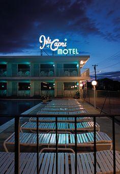 Isle of Capri Motel in Wildwood, New Jersey. Photo by Mark Havens. Nocturne, Cheap Motels, Isle Of Capri, Neon Aesthetic, Hotel Motel, Art Deco, Coney Island, The Ranch, Neon Lighting