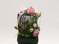 Birdcage Floral Display Arrangement Pink Rose Black by dalesdreams