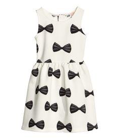 Patterned Black & White Bow Dress for Girls | H&M