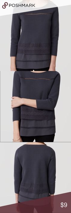 NWT LOFT mixed media top New with tags & flaw. Hole at seam under armpit. Priced accordingly. LOFT Tops Blouses