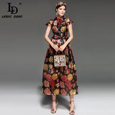 Cheap summer dress, Buy Quality summer dress women directly from China fashion long dress Suppliers: LD LINDA DELLA Fashion Designer Runway Summer Dress Women's Short Sleeve Elegant Vintage Rose Floral Print Long Dress