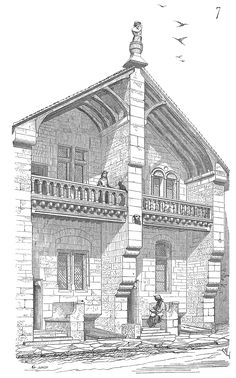 13th Century House. + City and rural houses, floorplans, cross sections and explanations (in French).