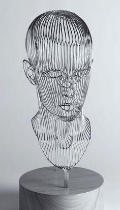 Stainless steel Busts and Heads #sculpture by #sculptor Martin Debenham titled: 'Self Portrait' #art