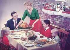 A holiday guide to arguing with your right-wing relatives: Explaining voter fraud, Benghazi and the fiscal cliff to Fox-watching family members Vintage Christmas Photos, 1950s Christmas, Vintage Thanksgiving, Thanksgiving Traditions, Christmas Dishes, Christmas Past, Christmas Images, Vintage Holiday, Family Christmas