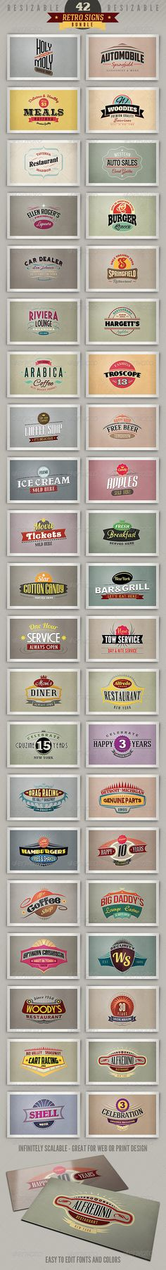 42 Retro Signs or Banners - Bundle - http://graphicriver.net/item/42-retro-signs-or-banners-bundle/4116200?ref=cruzine