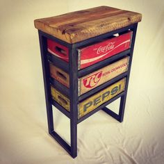 This fun table brings together rustic reclaimed Montana barn wood, vintage soda crates, and a robust steel frame. It would make a great table