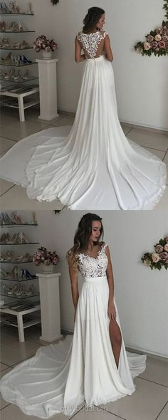 White Wedding Dresses, Long Wedding Dresses, Sheath/Column Wedding Dresses Scoop Neck, Chiffon Tulle Wedding Dresses Lace