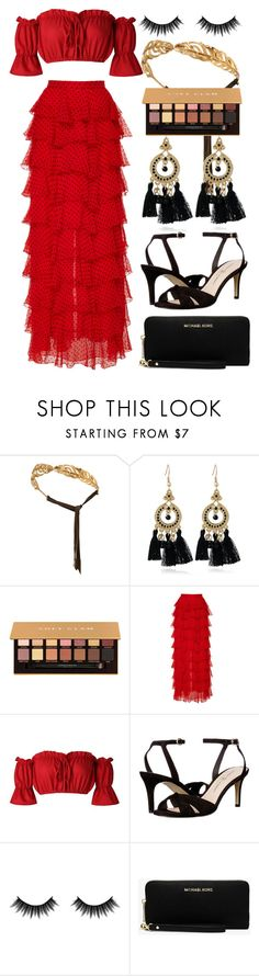 """""""Gold Girl"""" by busrashin ❤ liked on Polyvore featuring Madina Visconti di Modrone, Anastasia Beverly Hills, Rodarte, Chinese Laundry, Morphe and Michael Kors"""