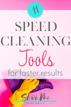 When you need to clean your house fast, using the right cleaning supplies achieves better results in less time. Check out my 11 favorite speed cleaning tools, plus tips and tricks to get the most out of each! Bathroom Cleaning Checklist, Weekly Cleaning Checklist, Cleaning Walls, House Cleaning Tips, Cleaning Supplies, Cleaning Products, Cleaning Granite Countertops, Clean Kitchen Cabinets, Organized Kitchen