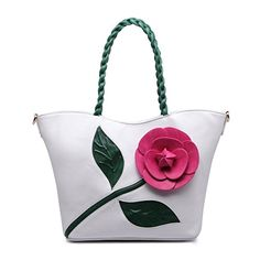 Women Shoulder Bag Purse Tote ClutchHandbag PU Leather Crossbody Flower Bags with Weave Handle White By Celsino