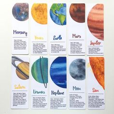 Watercolor Planets Bookmarks, SET OF celestial bookmarks, bookworm gifts, planet art, art bookma Solar System Activities, Space Solar System, Solar System Crafts, Solar System Planets, Uranus Planet, Jupiter Planet, Mars Planet, Planet Earth, Logo Web