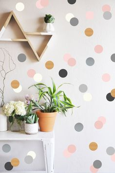 Wall Decal  Neutrals and Metallics Confetti Dots  Wall
